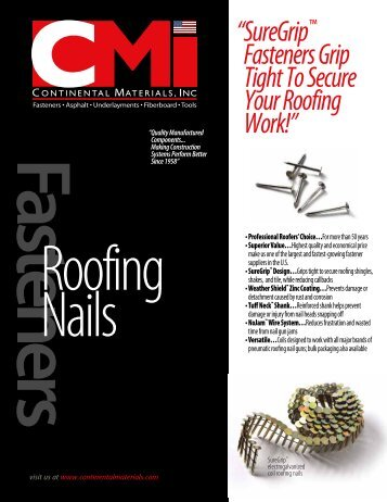 """"""" S ureGrip™ Fasteners Grip Tight To Secure Your Roofing Work!"""""""