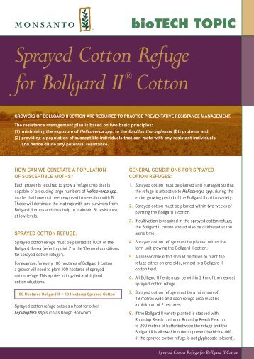 Sprayed cotton refuge - Monsanto