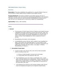 UND SMHS Mother's Room Policy Overview Description: This policy ...