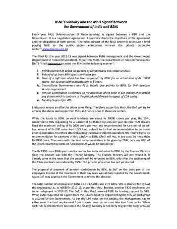 BSNL's Viability and the MoU Signed between the Government of ...