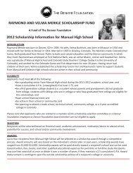 raymond and velma merkle scholarship fund - The Denver Foundation