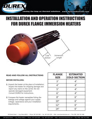 FLANGE SIZE ESTIMATED COLD SECTION - Durex Industries