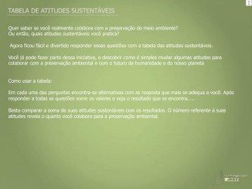TABELA DE ATITUDES SUSTENTÁVEIS - JHSF