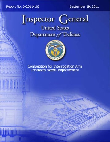 Competition for Interrogation Arm Contracts Needs Improvement