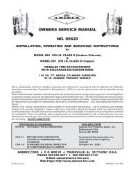 OWNERS SERVICE MANUAL NO. 05620 - Amerex Corporation