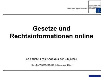Gesetze im Internet - Georg-Simon-Ohm Hochschule Nürnberg