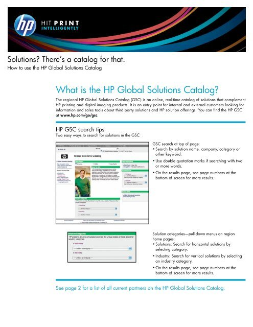 Solutions? There's a catalog for that  How to use the HP