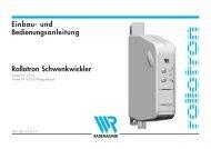 Einbau- und Bedienungsanleitung Rollotron Schwenkwickler