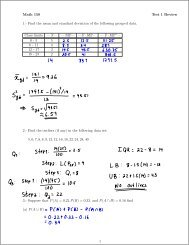 Math 150 Test 1 Review 1.- Find the mean and standard deviation of ...