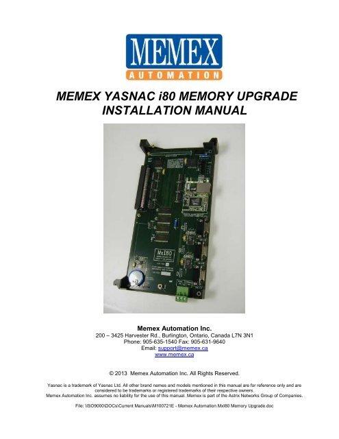 Yasnac i80 Memory Upgrade Manual - Memex Automation
