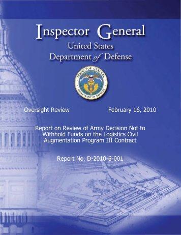 Report - DoD Inspector General