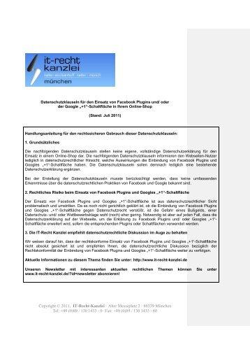 0· Fax: +49 (0)89 / 130 - IT-Recht Kanzlei