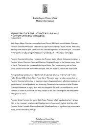 Rolls-Royce Motor Cars Media Information