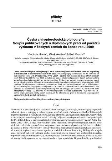 přílohy annex Česká chiropterologická bibliografie: Soupis ...
