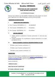 Examen continental des arbitres - Union Africaine de Judo