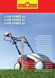 li-ion power 34 li-ion power 37 li-ion power 40 li ... - WOLF-Garten NL