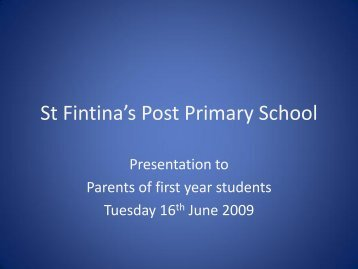 Presentation to First year parents - MeathVEC