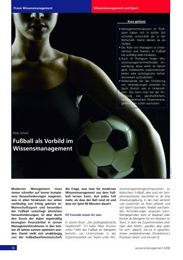 Fußball als Vorbild im Wissensmanagement - bei dbc-consult