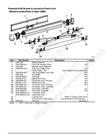 OtD Manual Awning Illustrated Parts List - Northwest RV Supply