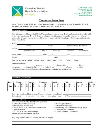 Print our volunteer application form - Canadian Red Cross