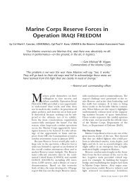 Marine Corps Reserve Forces in Operation IRAQI FREEDOM