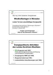 Vortrag Ulrich Goedecke: Windkraftanlagen in Würselen - Agenda ...
