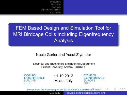 FEM Based Design and Simulation Tool for MRI     - COMSOL com