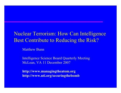 Nuclear Terrorism - Belfer Center for Science and International Affairs