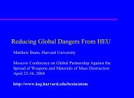 Reducing Global Dangers From HEU - Belfer Center for Science ...