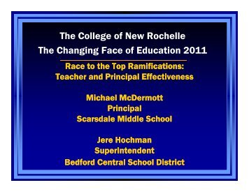RACE TO THE TOP RAMIFICATIONS - College of New Rochelle