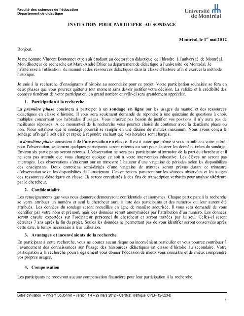 Informations relatives au formulaire de consentement