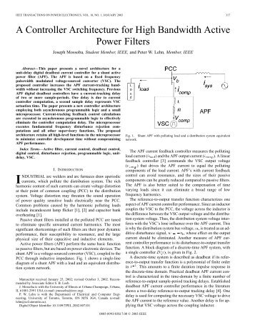 A controller architecture for high bandwidth active power filters ...