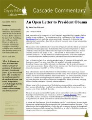 An Open Letter to President Obama - Cascade Policy Institute