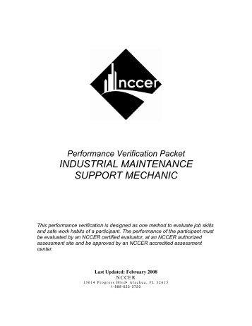 INDUSTRIAL MAINTENANCE SUPPORT MECHANIC - NCCER