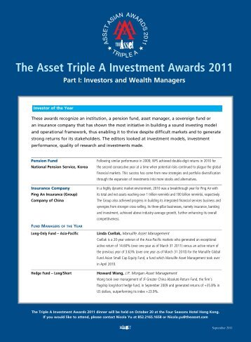 The Asset Triple A Investment Awards 2011