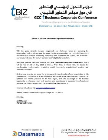 Join us at the GCC tBusiness Corporate Conference ... - Datamatix
