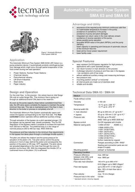 Minimum Gmbh automatic recirculation valve sma63 and sma64 - tecmara gmbh
