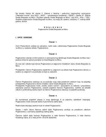 Poslovnik Poglavarstva Grada Biograda na Moru - Grad Biograd na ...