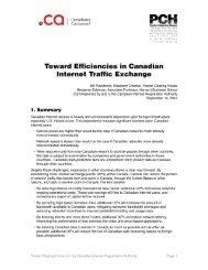 Toward Efficiencies in Canadian Internet Traffic Exchange - CIRA