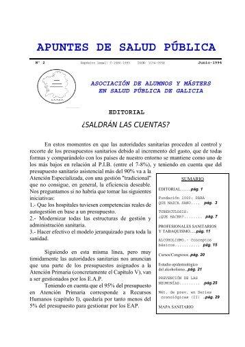 Apuntes de Salud Pública, Vol. I, Nº 2, Julio 1994 - Índice de webs ...