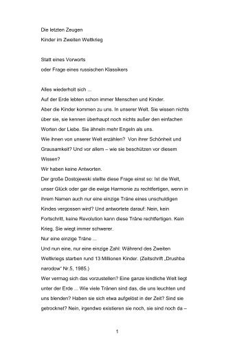 1 Die letzten Zeugen Kinder im Zweiten Weltkrieg Statt eines ...