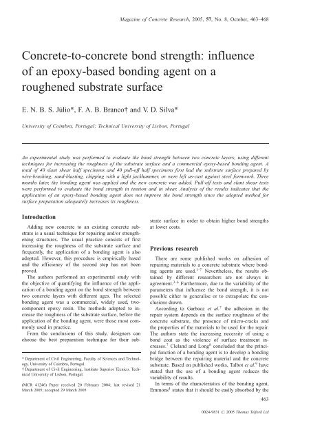 Concrete-to-concrete bond strength: influence of an epoxy-based
