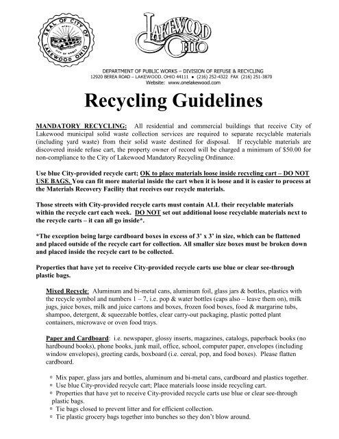 Recycling Guidelines - City of Lakewood, Ohio