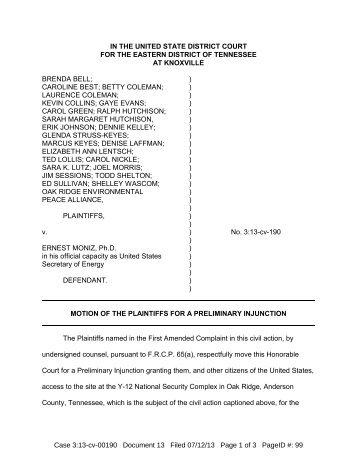 Motion for preliminary injunction - WBIR.com