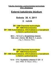 Rozvrh LS 2011 T 11 - Fakulta chemickej a potravinárskej technológie