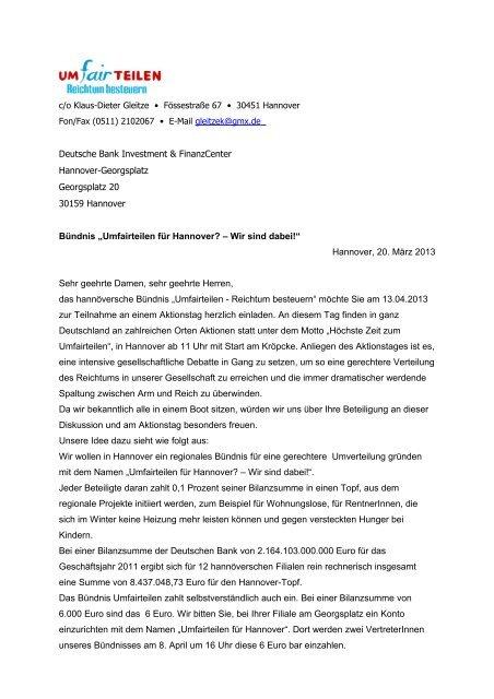 Deutsche Bank Anschreiben Lag Fw Ndsde