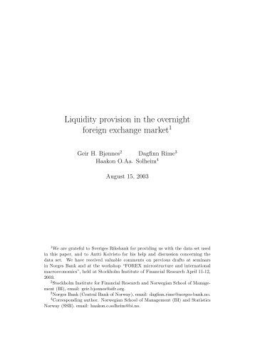 Liquidity provision in the overnight foreign ... - ResearchGate