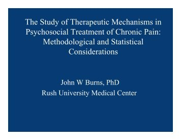 The Study of Therapeutic Mechanisms in Psychosocial Treatment of ...