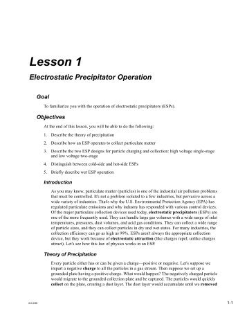 Electrostatic Precipitator Operation - Environmental Protection ...