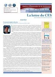 La Lettre n°15 - Centre d'Économie de la Sorbonne - Université ...